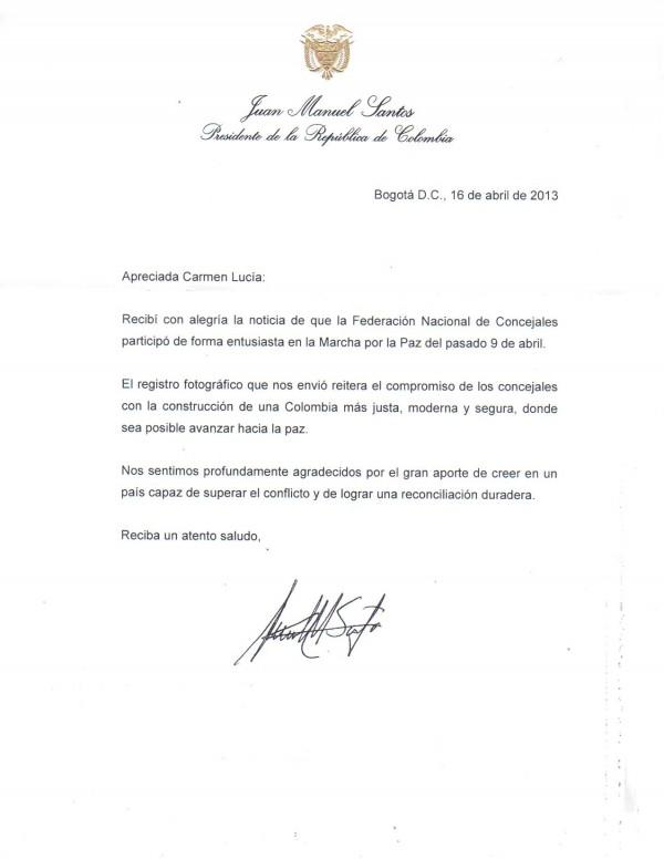 CORRESPONDENCIA DE PRESIDENCIA DE LA REPUBLICA